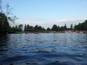 The IM Lake Placid Start line from the water.