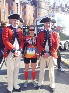 Stephanie with some new friends at the finish.