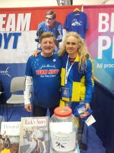 With Dick Hoyt and my Boston Strong scarf.