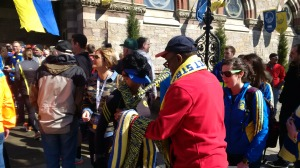 Church members giving out scarves at the Old South Church