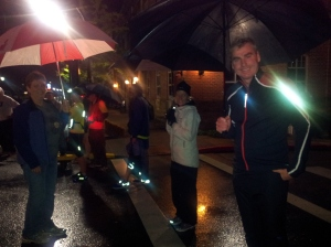 Relay exchange at 1:00 am in the rain!