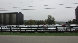 A sea of white vans!