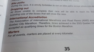 """Great typo in the course guide. Wonder how they find volunteers to be the """"Marter (martyr) at each km!"""